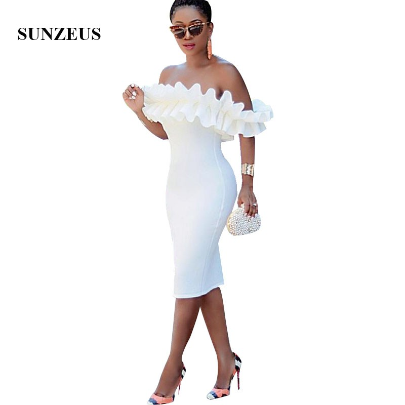 Robe   Cocktail   Femme Sheath Knee Length White   Cocktail     Dresses   2019 Off Shoulder Ruffles Party Gowns Prom