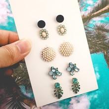 цена на 5Set/Pair Trendy Flower Round Shape Stud Earrings For Women Acrylic Mosaic Crystal Alloy Stud Earrings Wedding Jewelry
