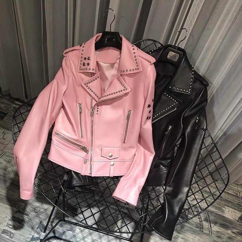 Woman Coats  Natural 100% Sheepskin Leather 2019 Fashion Motorcycle Leather Female Real Sheepskin LeatherJackets Hot Sellers