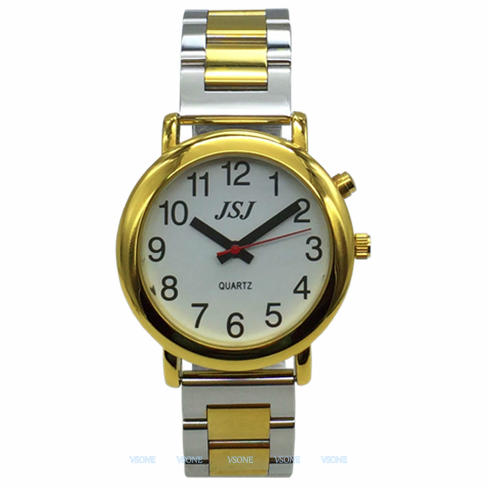 French Talking Watch With Alarm Function, Talking Date And Time, White Dial, Folding Clasp, Golden Case TAF-505