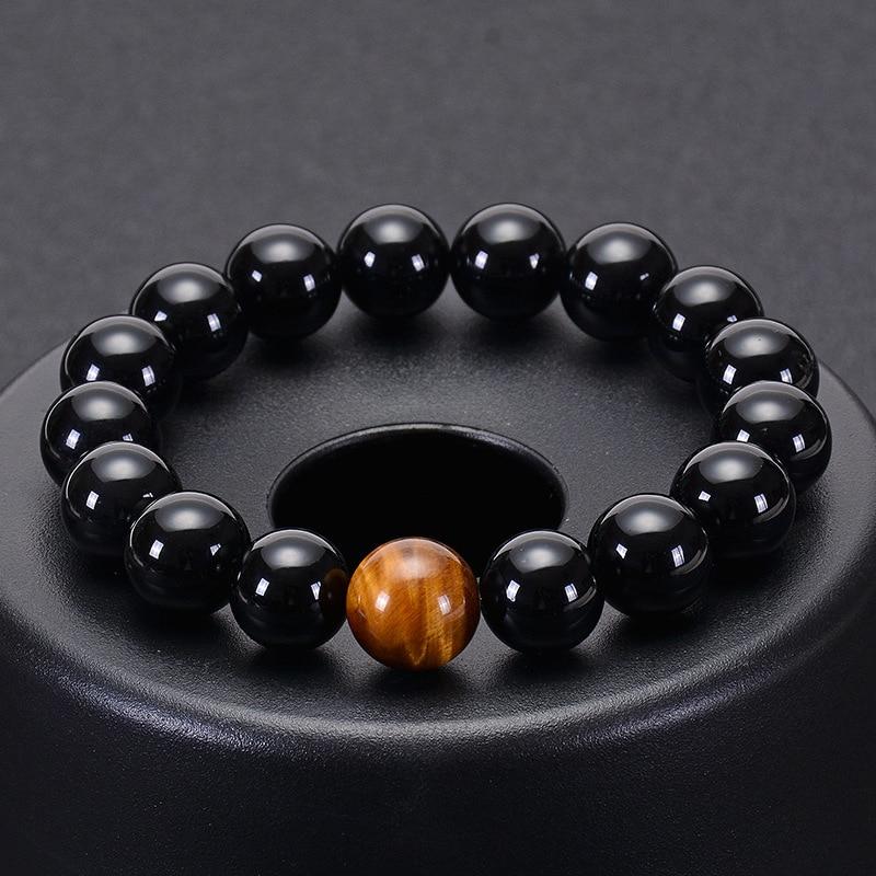Moda obsidian tiger eye pedra pulseiras para homens novo natural grânulos de pedra homem pulseira masculino charme yoga jóias presente 2020 pulsera