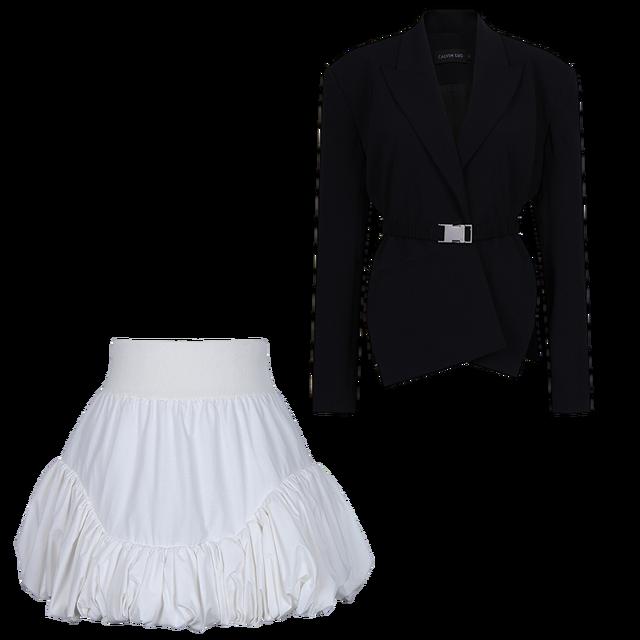 [EWQ] Ball Gown Skirt Side slits cross belted blazer chic black coats high waist queen office clothing 2-piece set 2021 summer 6