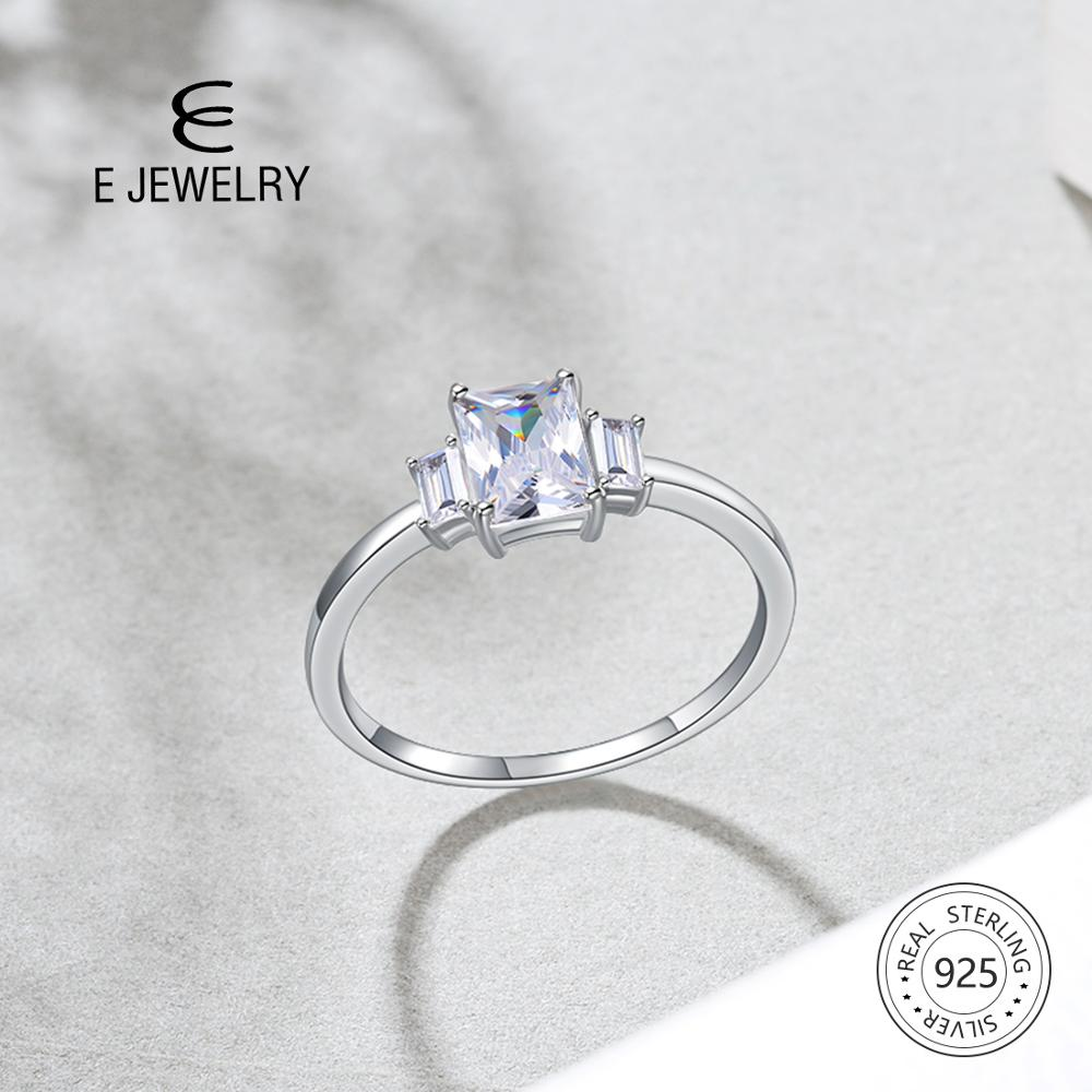 E Jewelry Sterling Silver 925 Ring Square AAA Zircon Engagement Rings for Women Gemstone Jewelry Rings Fashion Anniversary Gift