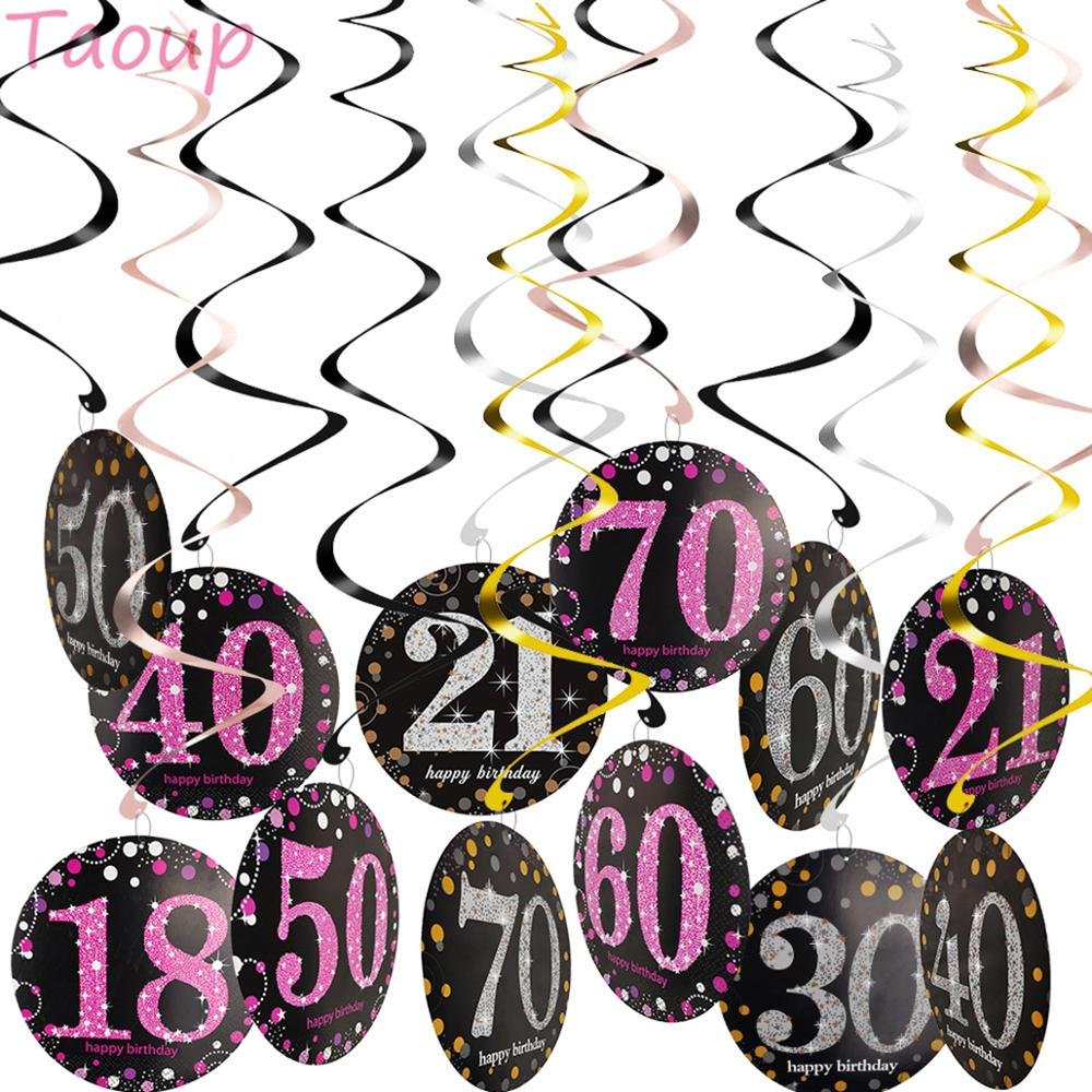 Taoup <font><b>18</b></font> 21 30 40 50 60 70 <font><b>Birthday</b></font> Party Supplies Photobooth Badge Hanging Swirls Happy <font><b>Birthday</b></font> Party <font><b>Decors</b></font> Adult Accessories image
