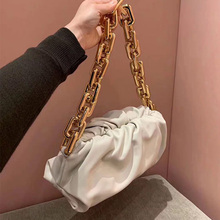 Women Bags High Quality Thick Metal Chain Hobos Dumplings Bags Luxury Designer Ruched Shoulder Bag For Women Cloud Bag Handbag