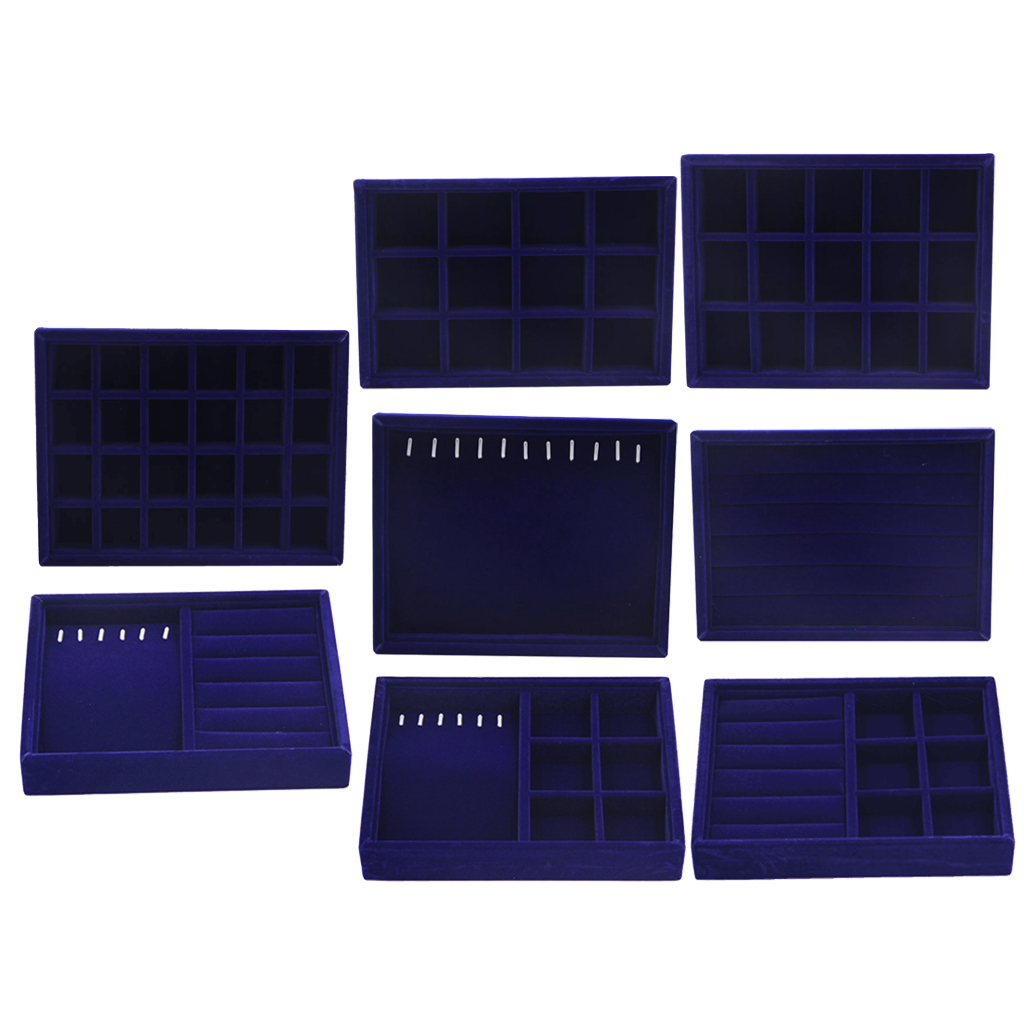 Soft Velvet Stackable Fashion Jewelry Display Trays Showcase Jewellery Organizer Storage 20x15x3cm