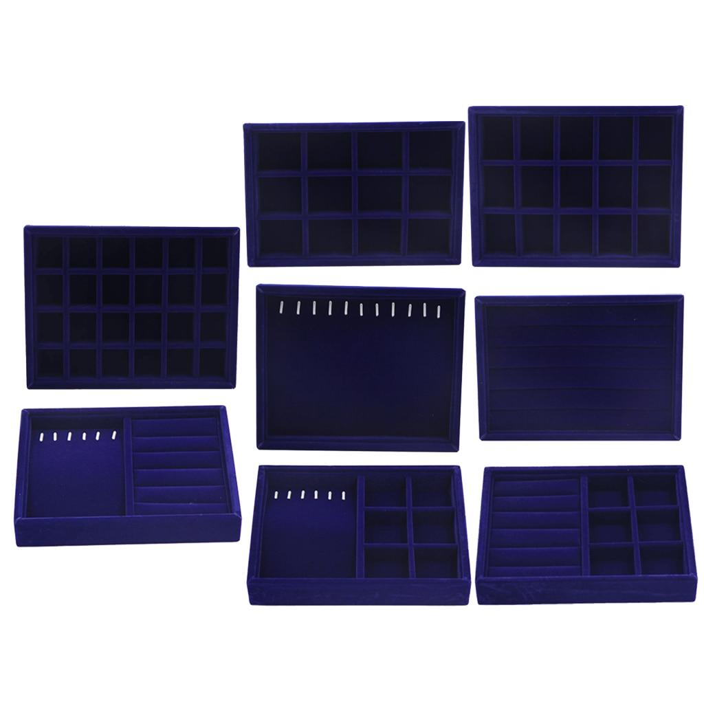 Soft Velvet Stackable Fashion Jewelry Display Trays Showcase Jewellery Organizer Storage 20x15x3cm