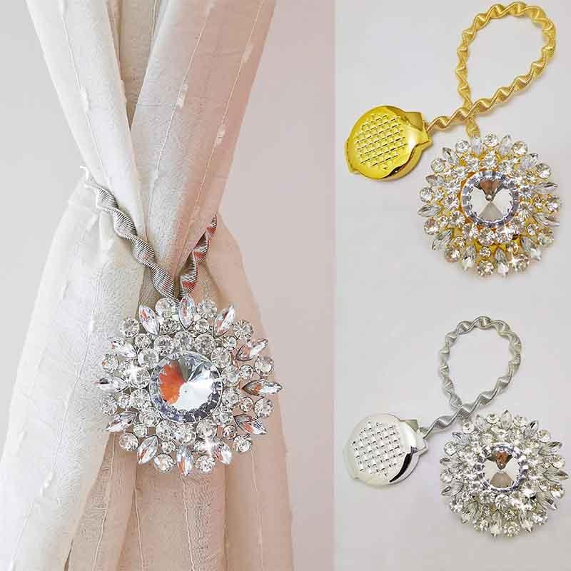 Correas de resorte para cortina, ganchos de cortina de diamantes múltiples, instalación gratuita, punzonado magnético, hebilla de cortina