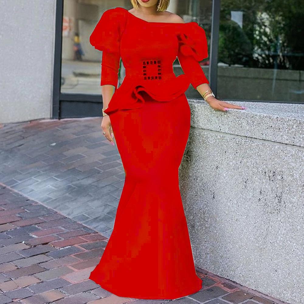 Женское вечернее платье на одно плечо, вечернее платье с рюшами, длинное платье русалки, элегантное платье макси с пышными рукавами, robe de soiree