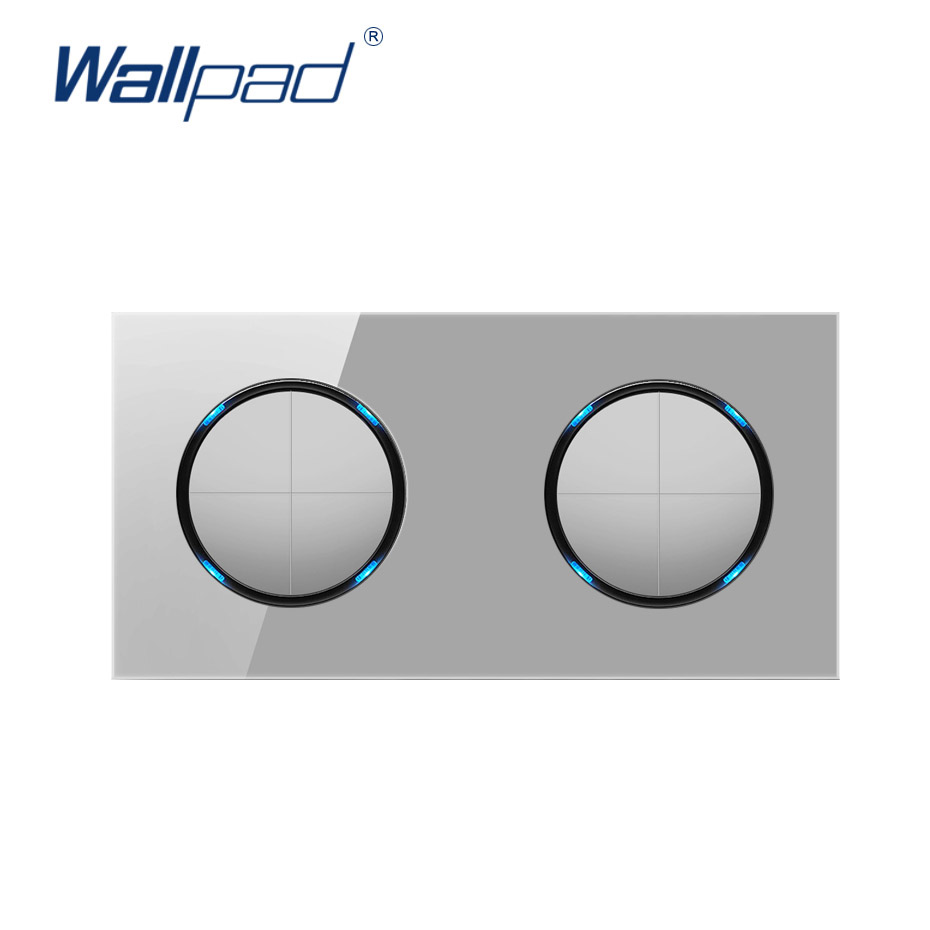 8 Gang 2 Way Grey Wall Light Switch Wallpad Luxury Tempered Crystal Glass Panel Electric Wall LED Indicator White