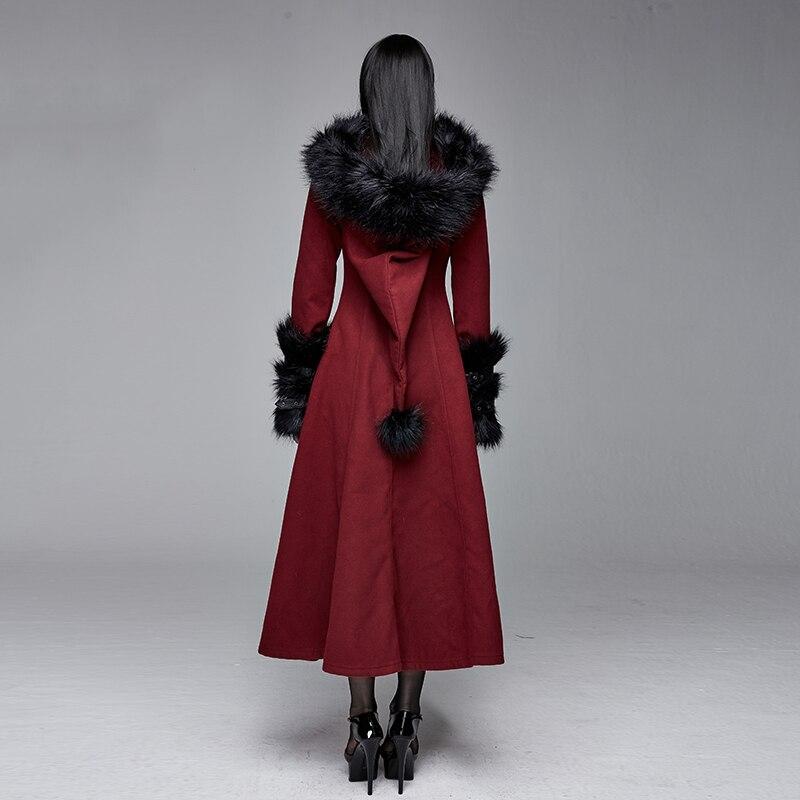 Teufel Retro Rot Damen Feder Warme Wolle Mantel Tasche Partei Langen Mantel Warme Winter Mantel Frauen - 3