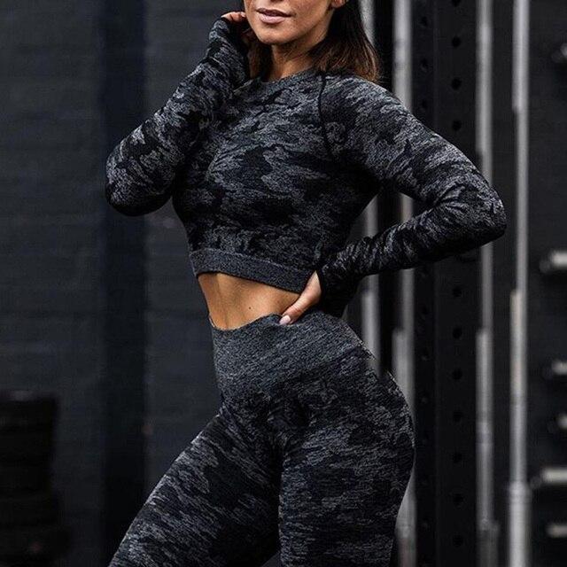 SALSPOR Camo Seamless Yoga Shirts Women Gym Crop Top Long Sleeves Running Sport T-Shirts Women Fitness Yoga Top Workout Tops 2