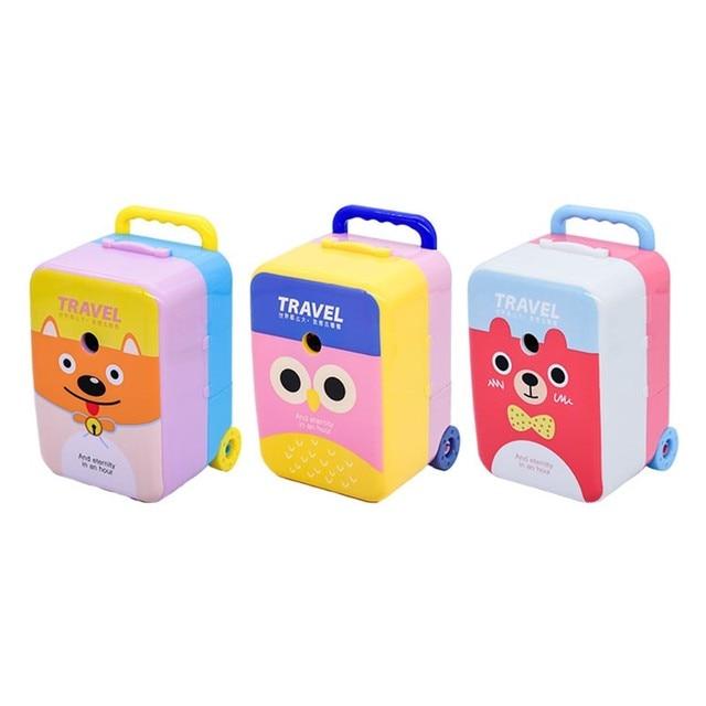 Seyahat çantası bagajı karikatür bavul sevimli döndürme kollu kalemtıraş manuel kalemtıraş okul malzemeleri kırtasiye çocuklar hediyeler