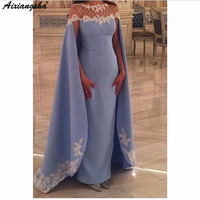 Sexy Elegant Women Formal Dress Gala Party Long Appliques Satin Plus Size Arabic Muslim Blue Evening Dresses Gown 2019
