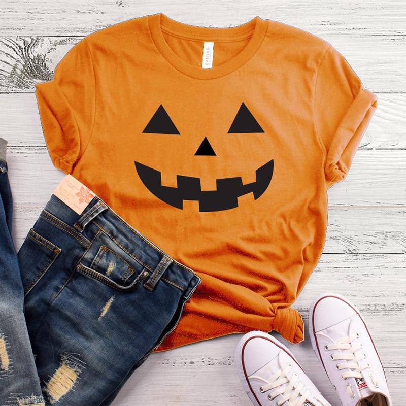T-shirt Top Pumpkin Shirt Women Graphic Halloween Pumpkin Tee Tshirt Harajuku Women Causal Cotton Tops Tees Shirt Drop Shipping