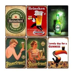Beer Poster Vintage Metal Tin Sign Bar Pub Club Man Cave Wall Decorative Plates Retro Plaque Home Decor 20x30cm(China)