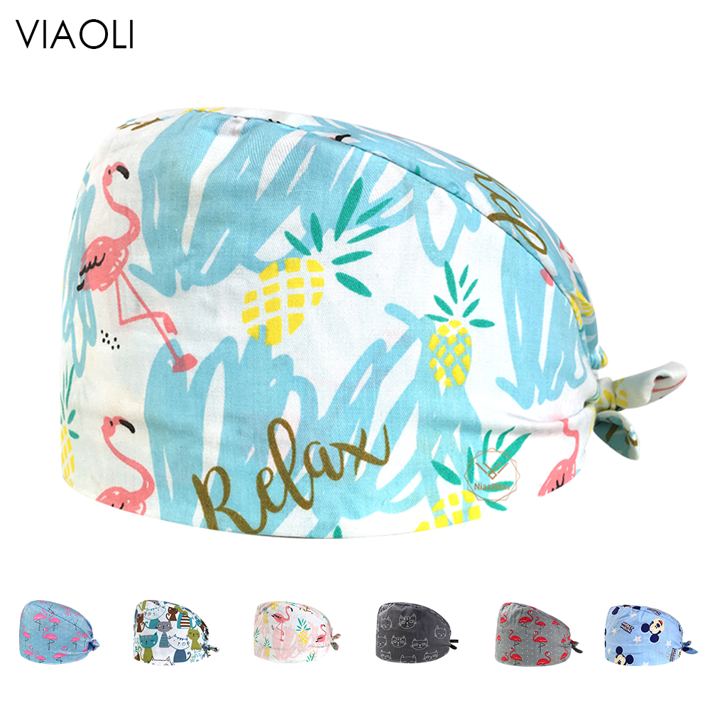 Adjustable Surgical Caps Nurse Medical Hat Scrub Cap Hospital Doctor Working Hat With Sweatband Surgical Hatpharmacy Nursing Cap
