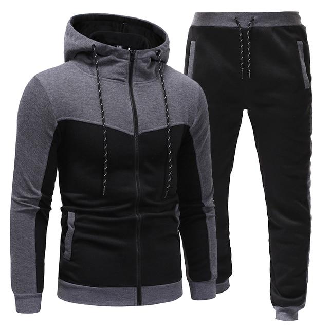 New Fashion Men Set Zipper Hoodies+Pants Sets Male  3