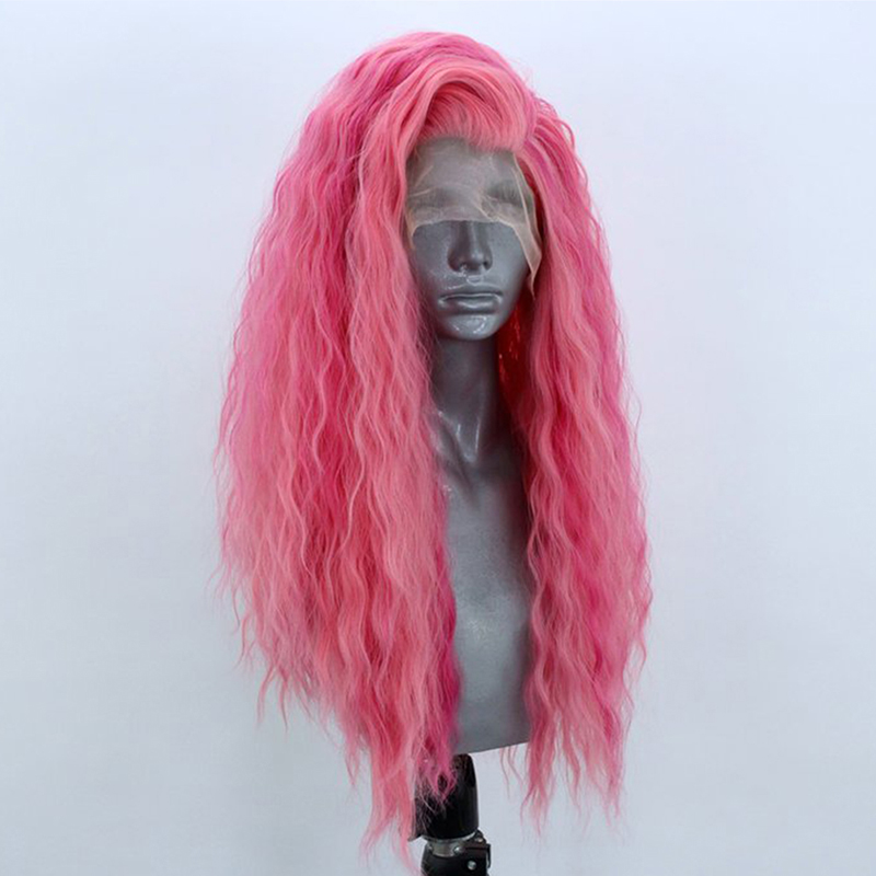 QUINLUX WIGS Pink Long Loose Curly Wig Glueless Heat Resistant Fiber Hair Synthetic Lace Front Wigs for Women with Free Part