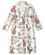Europe and America womens Trench coat 2019 Autumn runways floral print beading loose overcoat women windbreaker A916