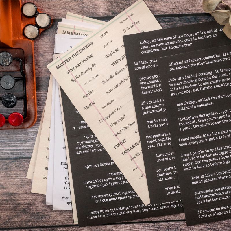 WOKO 4pcs Vintage English Word Typewriter Text Basic Retro Mood Phrases Decorative Sticker DIY Scrapbooking Planner Photo Escola