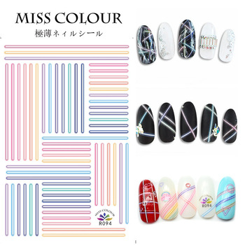 Newest R094 Neon line design nail art sticker decal stamping back glue DIY nail decoration tools newest haxx 49 50 51 3d nail art sticker back glue nail decal stamping japan type nail decoration tools