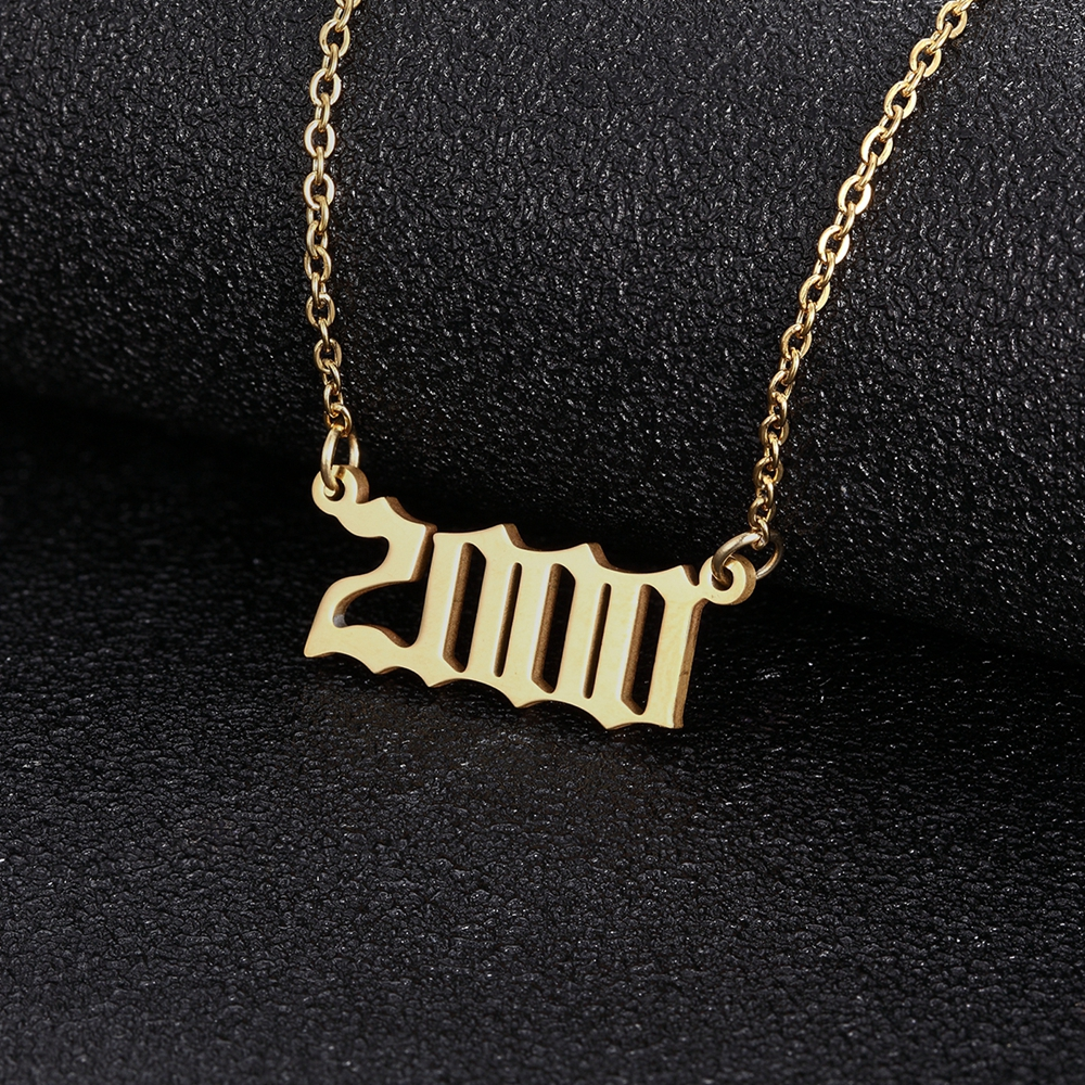 Stainless Steel Old English Number Year Necklaces 1980-2005 Pendant For Women Men Chokers Birthday Gift Special Date Jewelry