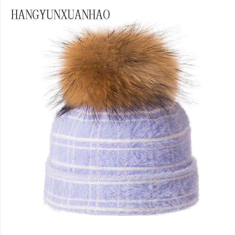 High Quality Women Winter Hats Fashion Rabbit velvet Knitted Like Mink Fur Hat Female Girl Double Thickening Beanies in Men 39 s Skullies amp Beanies from Apparel Accessories