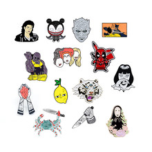 Nouvelle broche émail nuit roi Thanos No face homme Pikachu Michael Jackson épinglette tigre crabe Batman rouge coeur badge citron fruits(China)