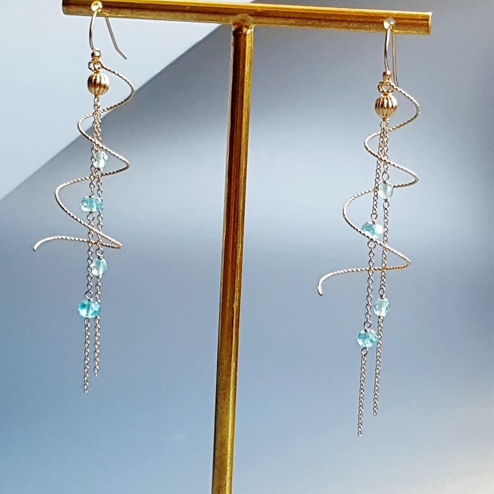 Lii Ji Genuine Apatite Spiral Earrings 925 Sterling Silver Handmade Drop Link Earrings Delicate Jewelry For Women Gift