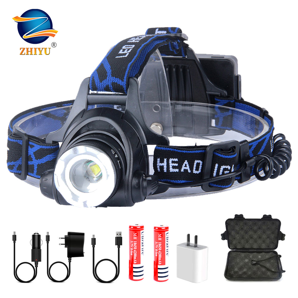 ZHIYU Led Headlamp 2 18650 Bettery Super Bright Single Head Lights Fishing Comping T6 Headlights Zoomable DC Rechargeable Lamps
