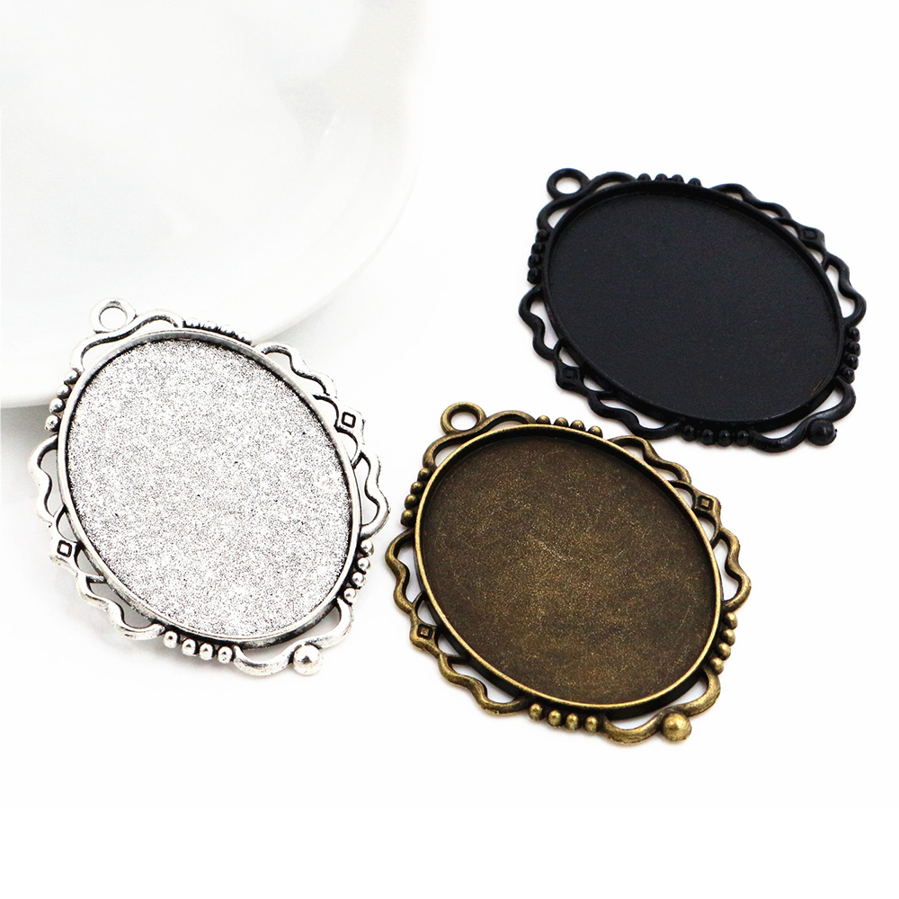 5pcs 30x40mm Inner Size Antique Silver Plated And Bronze And Black Pierced Style Cabochon Base Setting Charms Pendant-