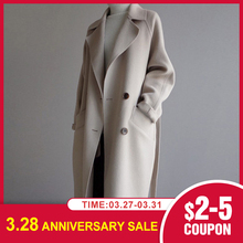 New Winter Coat Women Wide Lapel Belt Pocket Wool Blend Coat