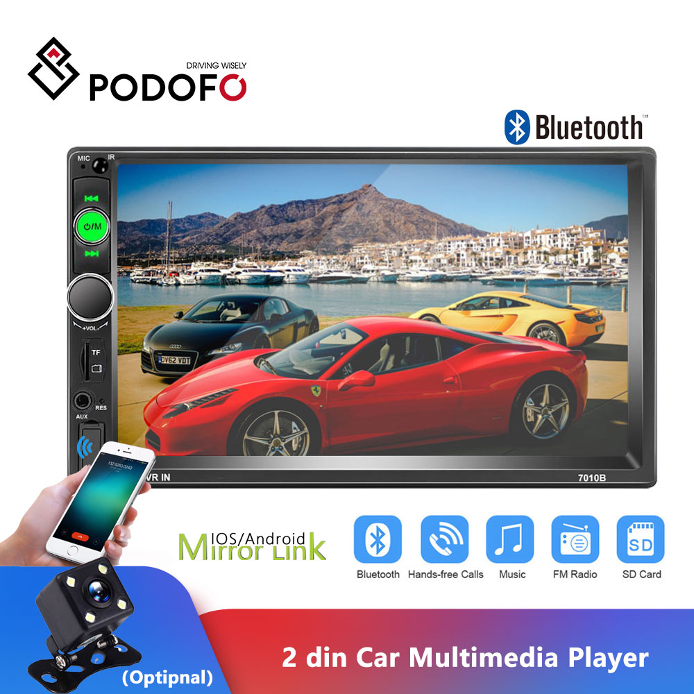 Podofo 2Din Auto Radio 7 zoll Touch Screen Radio Autoradio Auto MP5 Player Digital Display Bluetooth Multimedia USB 2din Autoradio