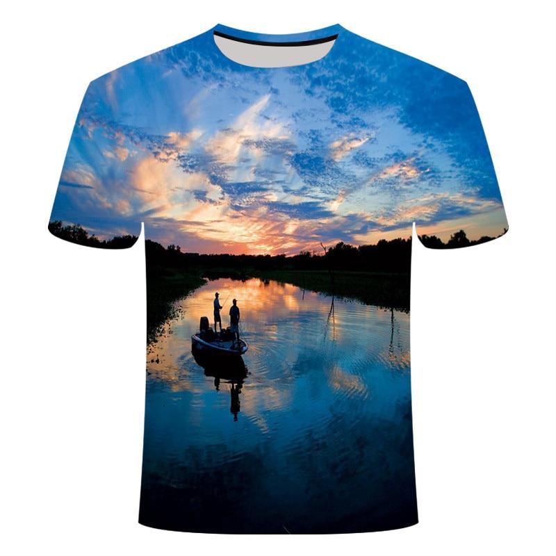 2019 новая футболка для рыбалки, стильная повседневная футболка с цифровым 3D принтом рыбы, мужская и женская футболка, летняя футболка с