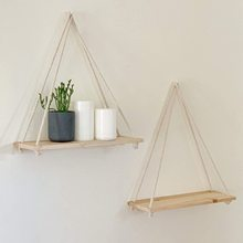 Wooden Rope Swing Wall Hanging Plant Flower Pot Tray Mounted Floating Wall Shelves Nordic Home Decoration Moredn Simple Design