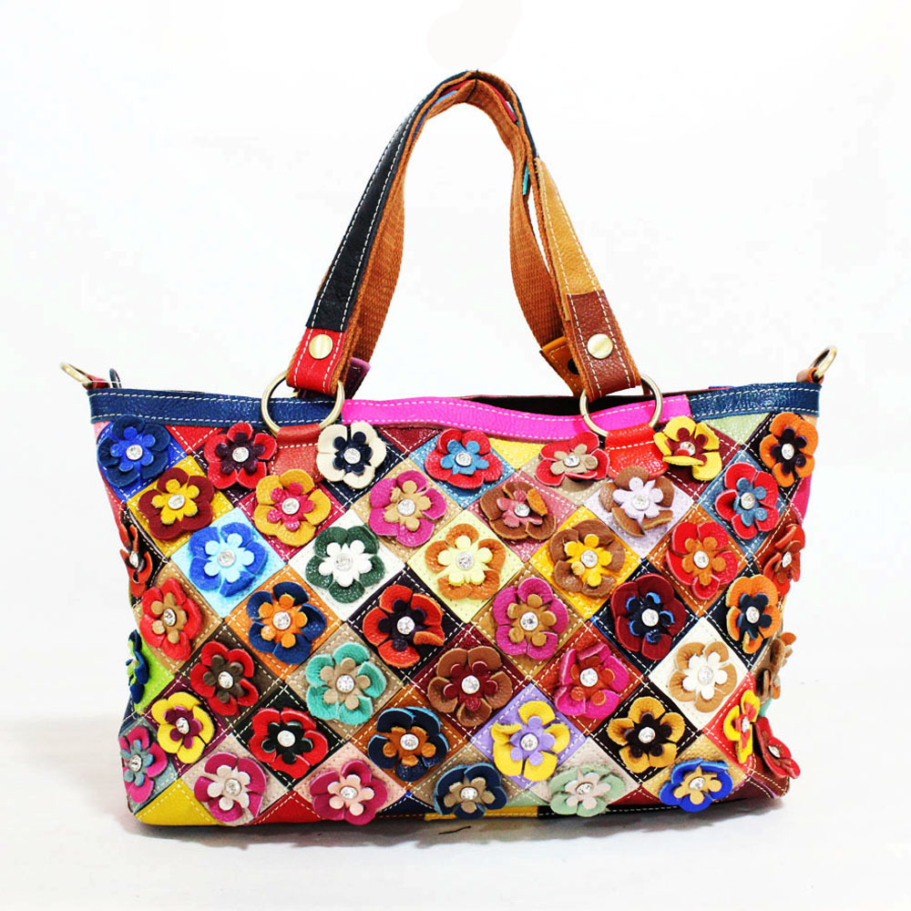 2020 European and American Women's Bag Full-Grain Leather Shoulder Messenger Bag Color Matching Flower Women's Leather Bags