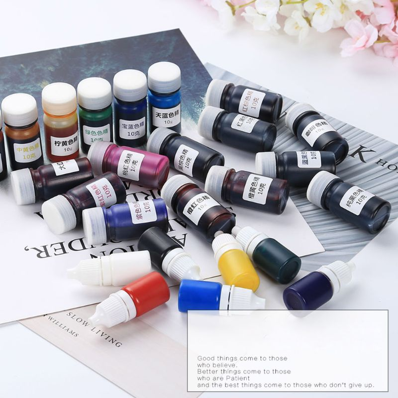 17 Pcs/Set Resin Drop Glue High Concentration Transparent Color Paste Pigment 10g/bottle Epoxy Pigment Pigment Powder