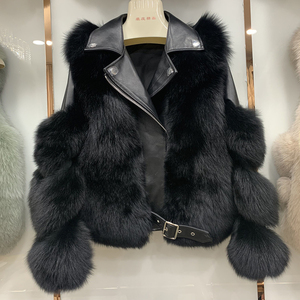 Image 4 - New Arrival Womens Fashion Fur Coats Real Full Pelt Fox Fur Outerwear Genuine Sheepskin Leather Jackets S7650
