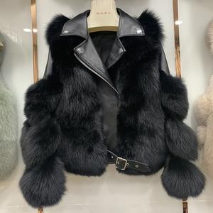 Image 4 - 새로운 도착 여자의 패션 모피 코트 진짜 전체 펠트 폭스 모피 겉옷 정품 양피 가죽 자켓 s7650