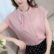 Women Vintage Chiffon Blouse Fashion Round Collar Short Sleeve Temperament Shirts Blusas Casual Solid Color Korean Blouses Tops