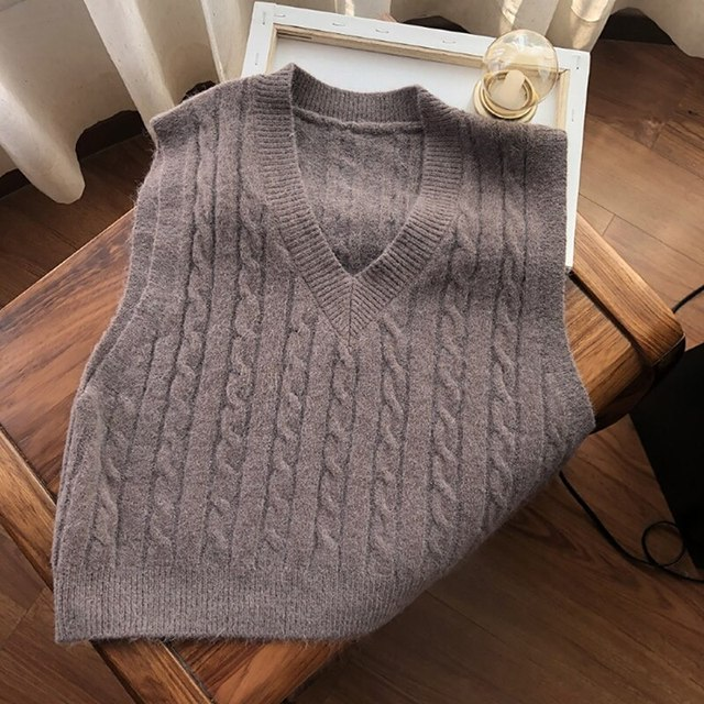 1DayShipAutumn Sweater Vest Women's Solid Knitted Vest Korean Style Student V-neck Pullover Loose Casual Knitting Tops Outerwear 5