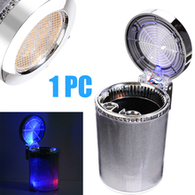 Mayitr 1pc Portable Car LED Ashtray Silver Auto Cigarette Smoke Ash Cylinder Holder for Truck Home Air Vent