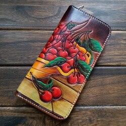 Высококачественные женские кошельки ручной работы с вишнями, кошельки на молнии с фруктами, мужские длинные клатчи, кожаный бумажник с раст...