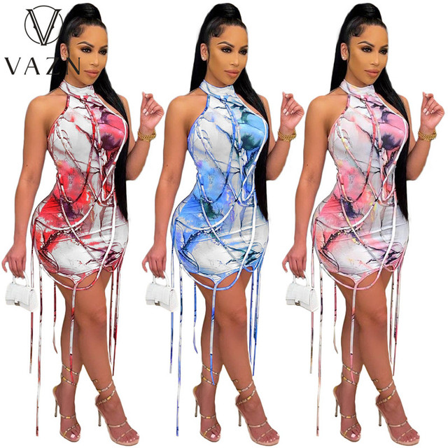 VAZN New 2021 Pleated Chic Ladies Slim Elegant Female Dress Women Deep Female Ladies Sleeveless Deep Dress Sexy Mini Beach Dress 6