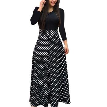 Spring Women Maxi Dress Vintage Floral Print Splice Casual Long Sleeve Dress 5XL Plus Size Elegant Ladies Long Dresses Vestidos 2
