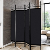 4 Panels Metal Frame Room Private Folding Screen High Quality Polyester Fabrics Durable Iron Tubes Screen Simple Assembly