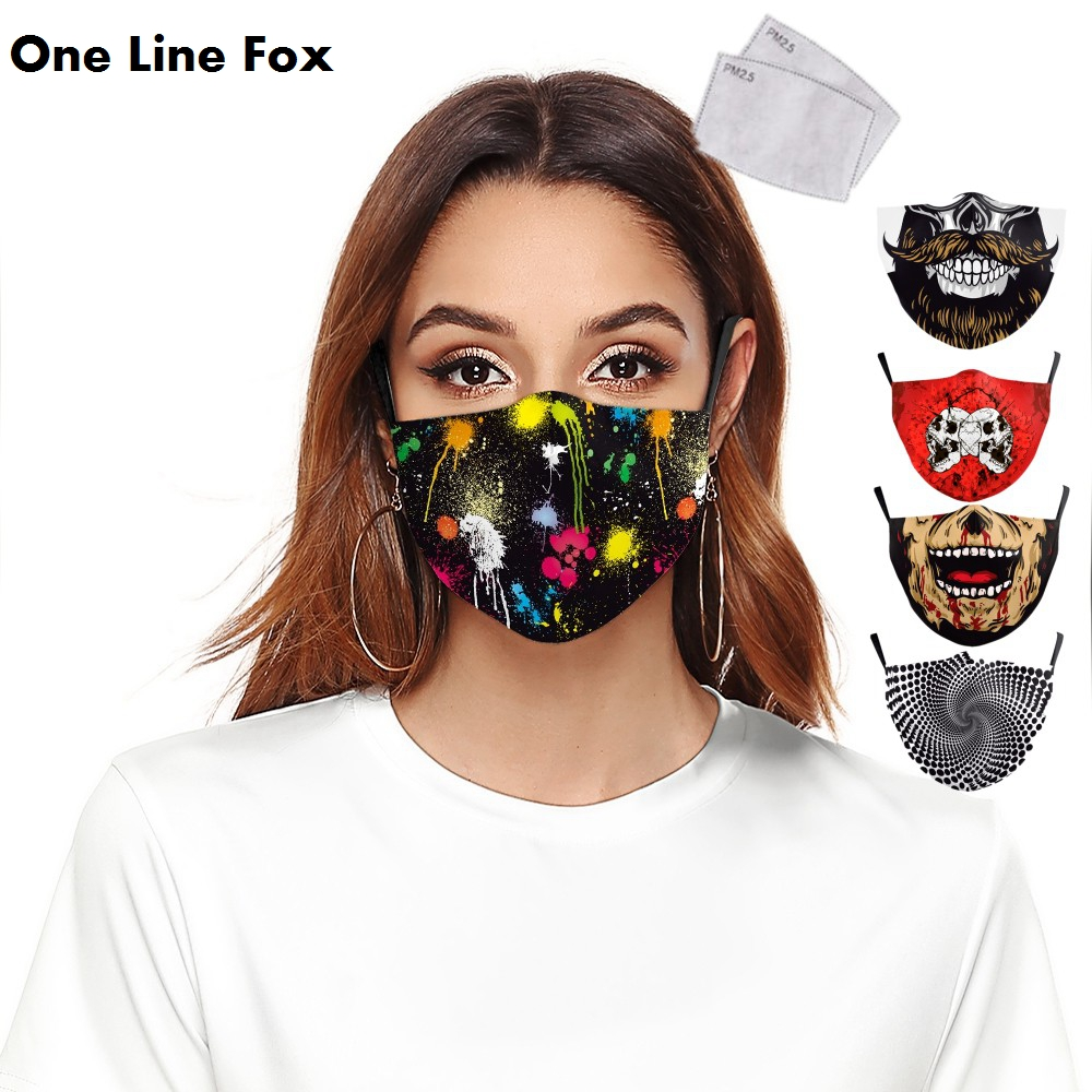 OneLineFox Colorful Oil Painting Print Face Mask Galaxy Adult Washable Fabric Mask PM 2.5 Protective Dust Mouth-Muffle Reusable