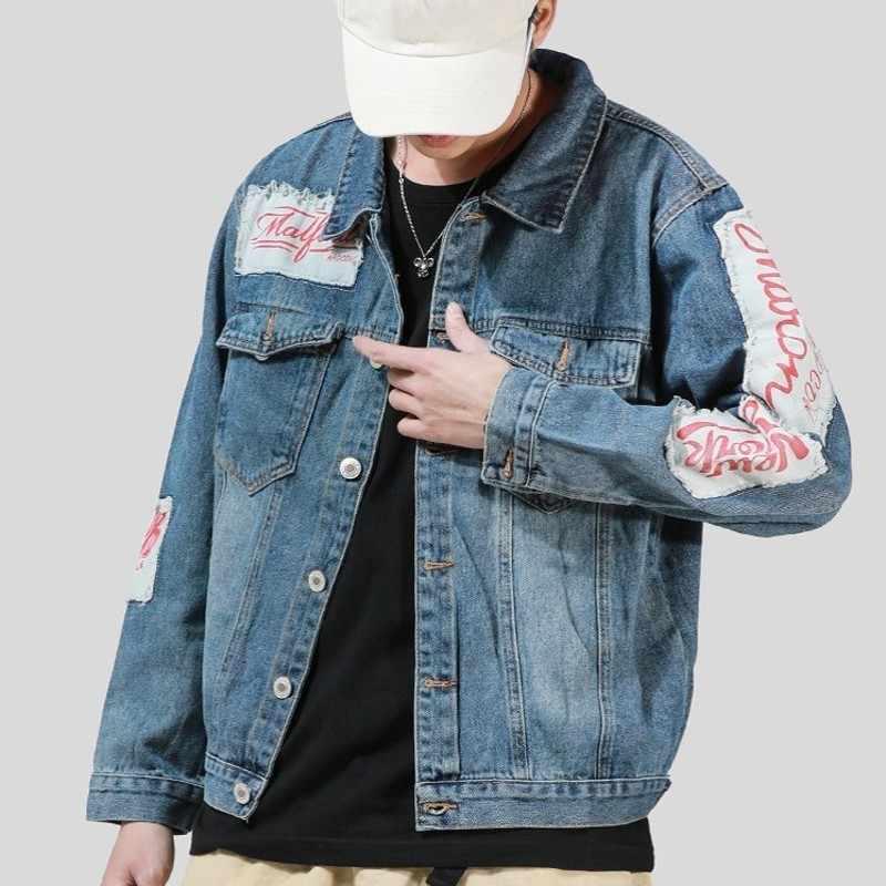 Primavera Nuovo di Zecca Harajuka Vintage Patch di Stampa Mens Lavaggio Giubbotti jeans Monopetto Risvolto Allentato casual Maschio Cappotti Della Tuta Sportiva