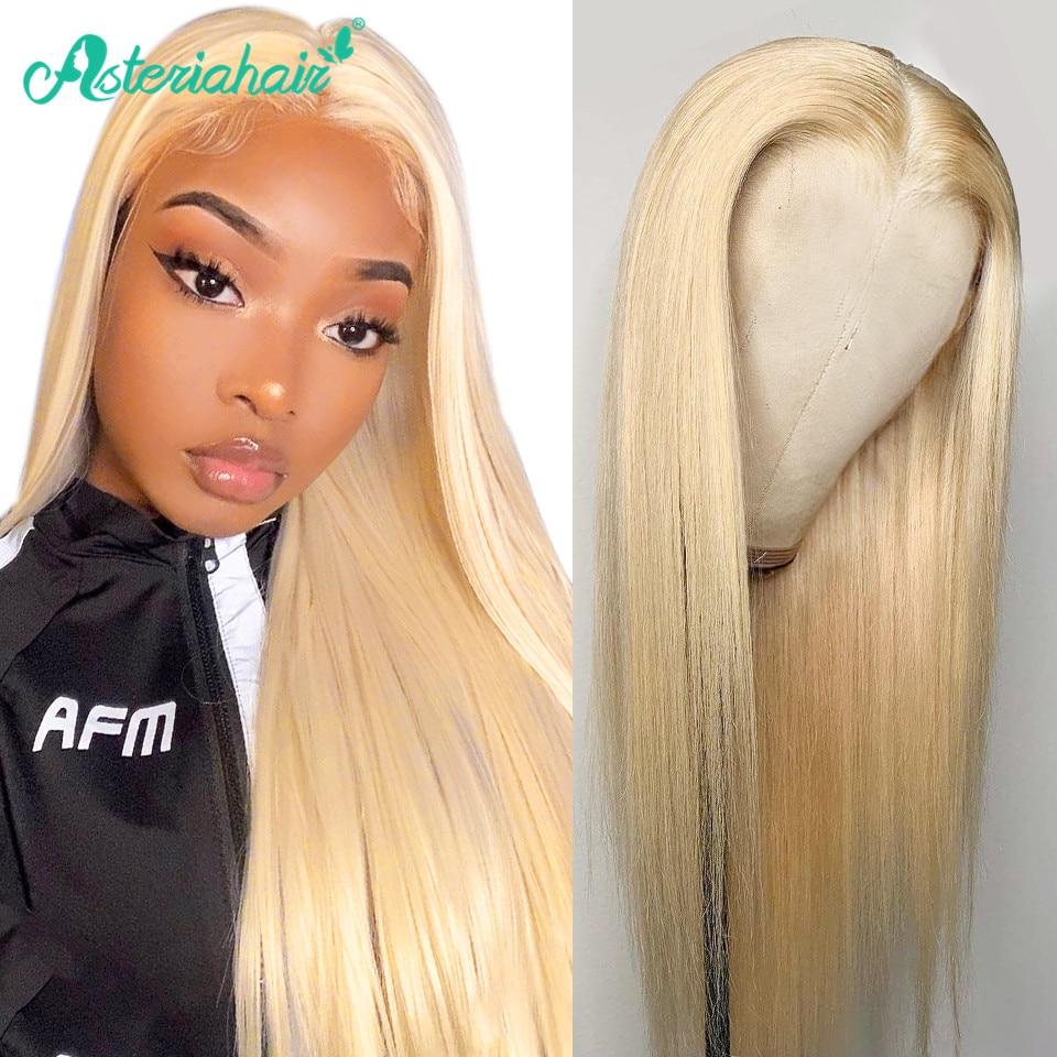 Pelucas de cabello humano Asteria 613 con frente de encaje Rubio para mujeres negras, pelucas de pelo brasileño liso de color Remy